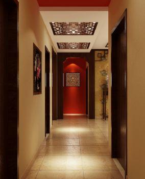 120平三居中式风格中式过道装修图片