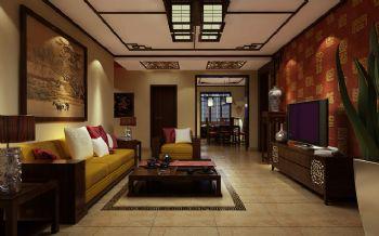 120平三居中式风格中式客厅装修图片
