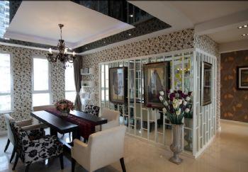 140平现代与法式田园的混搭风格混搭餐厅装修图片