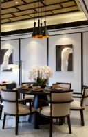【武汉尚层作品】宝安中国院子案例赏析中式餐厅装修图片