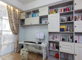 86平美式混搭设计美式书房装修图片