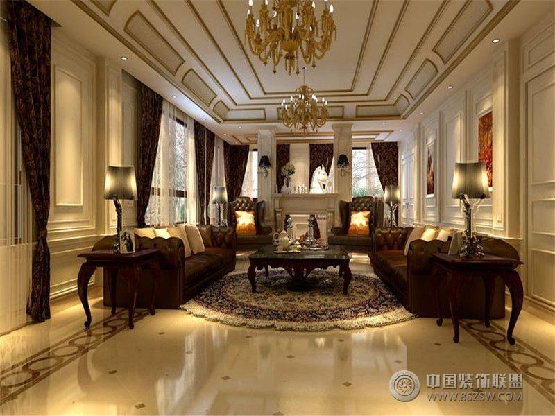 装修效果图 客厅装修效果图 成都尚层装饰别墅装修设计师欧美风格案例