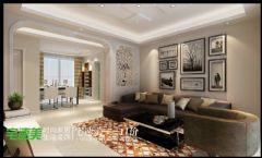 100平现代简约温馨三居室现代客厅装修图片