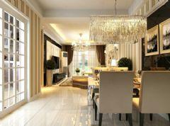 信德半岛93平简欧风小三室效果图欧式餐厅装修图片