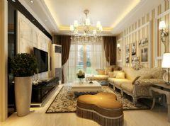 信德半岛93平简欧风小三室效果图欧式客厅装修图片