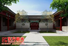 专业四合院设计住宅设计-东方晨光中式客厅装修图片