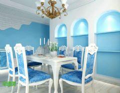 金色水岸浪漫地中海115平三居室地中海餐厅装修图片