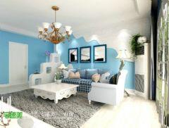 金色水岸浪漫地中海115平三居室地中海客厅装修图片