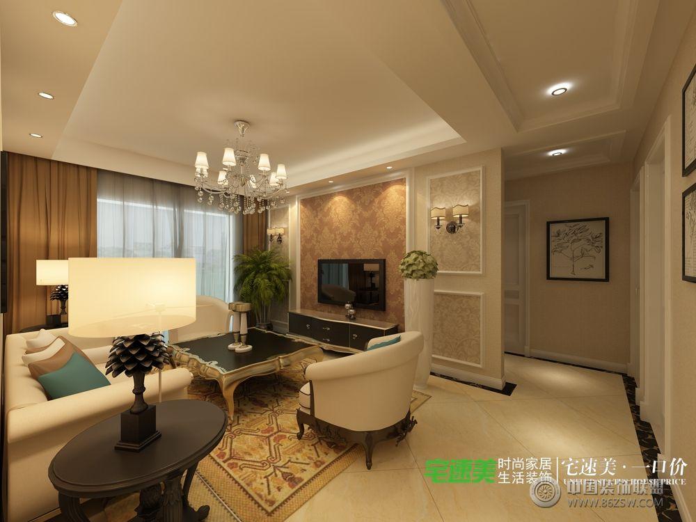 龙凤佳苑三室两厅104平简欧风格装修效果图