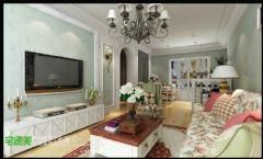 中央城三室两厅111平清新田园风格田园客厅装修图片