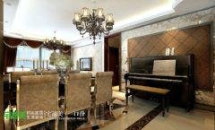 春天里三室两厅122平简欧风格欧式餐厅装修图片