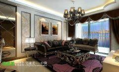春天里三室两厅122平简欧风格欧式客厅装修图片