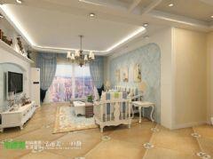 绿地镜湖世纪城三室两厅134平地中海风格地中海客厅装修图片