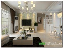 春天里两室两厅89平简约风格装修效果图简约客厅装修图片