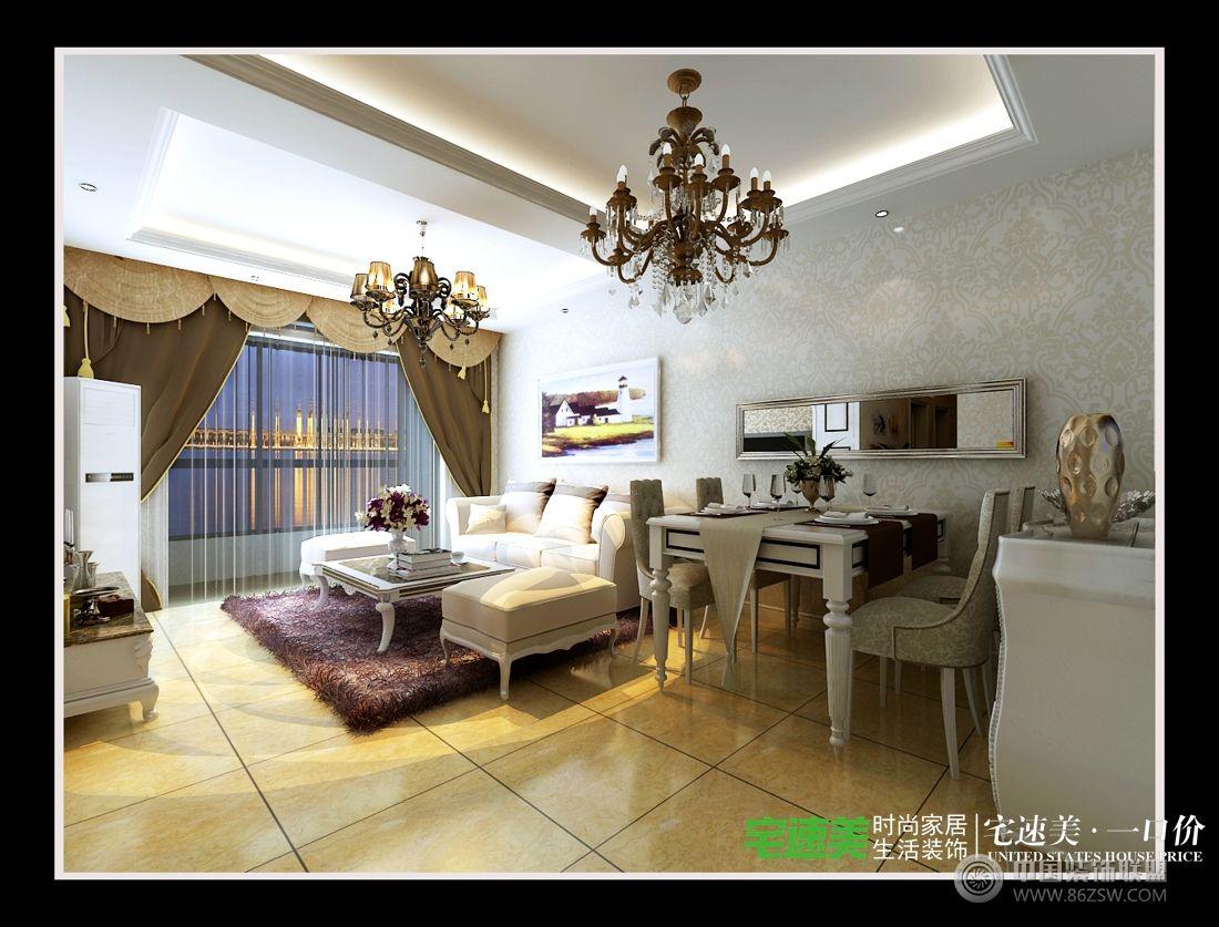 信达荷塘月色三室两厅95平简约风格装修效果图-客厅装修图片