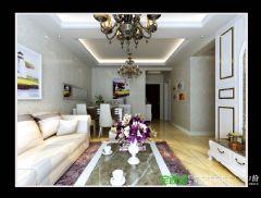 信达荷塘月色三室两厅95平简约风格装修效果图简约客厅装修图片