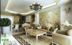 世茂滨江花园三室两厅135平欧式风格欧式客厅装修图片