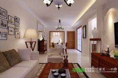 华强城美加印象两室两厅89平中式风格装修效果图中式客厅装修图片
