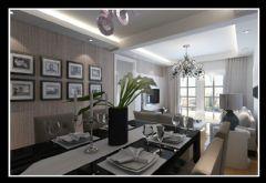 美加印象三室两厅91平现代简约风格现代餐厅装修图片