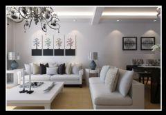 美加印象三室两厅91平现代简约风格现代客厅装修图片