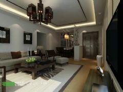国贸天琴湾两室两厅107平新中式风格中式客厅装修图片