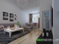 华强城颐景湾畔复式三室两厅110平现代风格装修效果图现代客厅装修图片