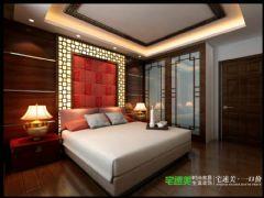 张家山领秀城徽派风格227平跃式户型中式卧室装修图片
