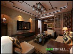 张家山领秀城徽派风格227平跃式户型中式客厅装修图片