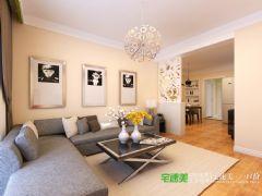 信达荷塘月色三室两厅89平现代简约风格装修效果图现代客厅装修图片