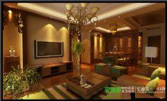 世茂滨江花园四室两厅178平混搭中古典客厅装修图片