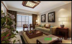 连阳台都不放过的极致享受——伟星平湖秋月三室两厅137平中式风格装修效果图中式客厅装修图片