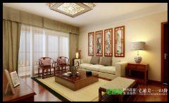 鸿瑞熙龙湾142平四室两厅新中式风格中式客厅装修图片