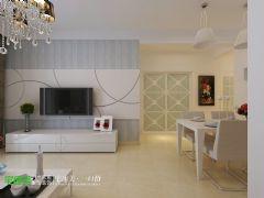 地大橡树园两室两厅98平简约风格现代客厅装修图片