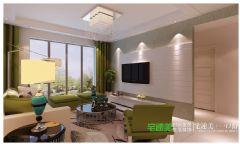 都市中的一抹绿色——绿地镜湖世纪城三室两厅96平现代风格装修效果图现代客厅装修图片