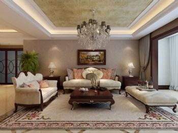 暖色调客厅设计田园客厅装修图片