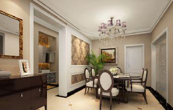 125平三居简欧风格案例简约餐厅装修图片