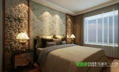 三室两厅新中式风格白金湾100平效果图中式卧室装修图片