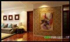 三室两厅古典中式三潭音悦126平效果图中式过道装修图片