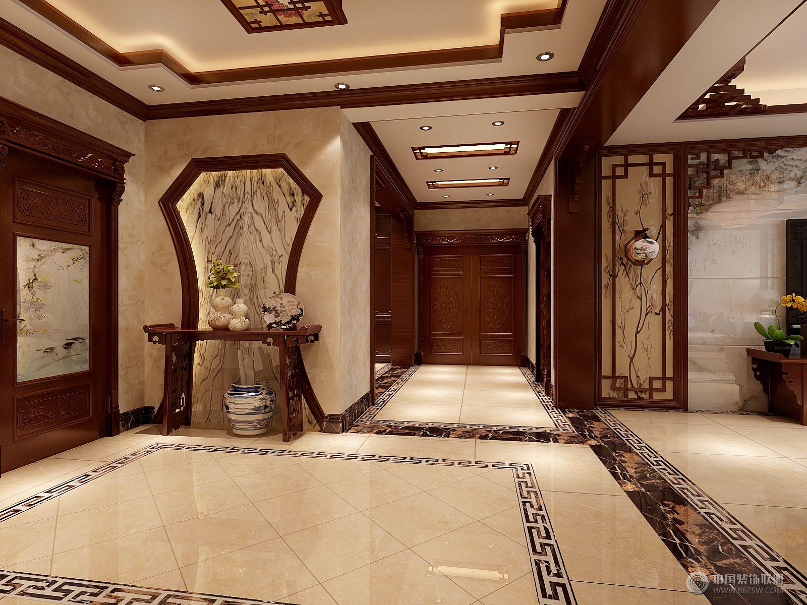 中式三居室大户型装修效果图