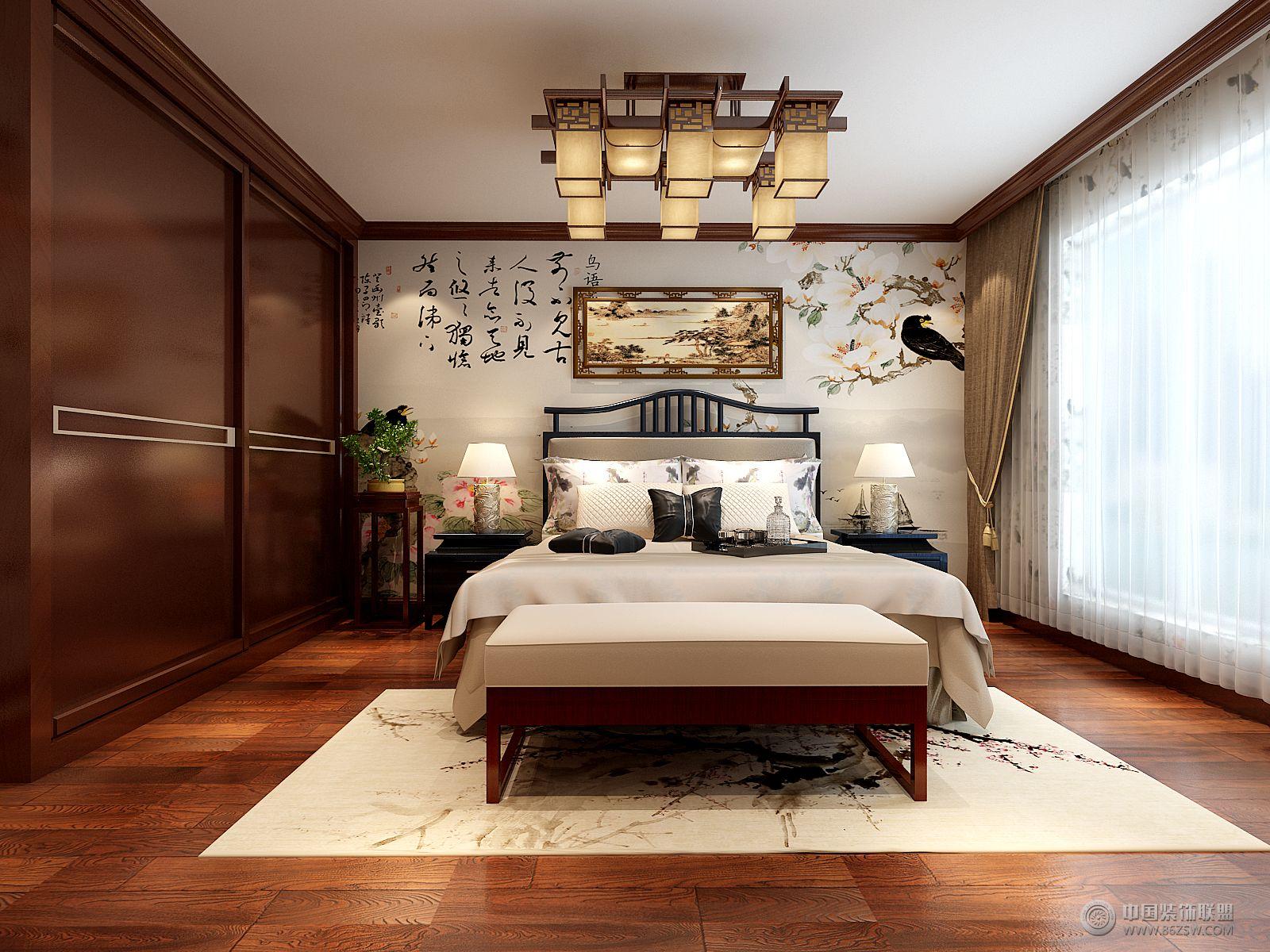 荷塘月色中式卧室装修图片