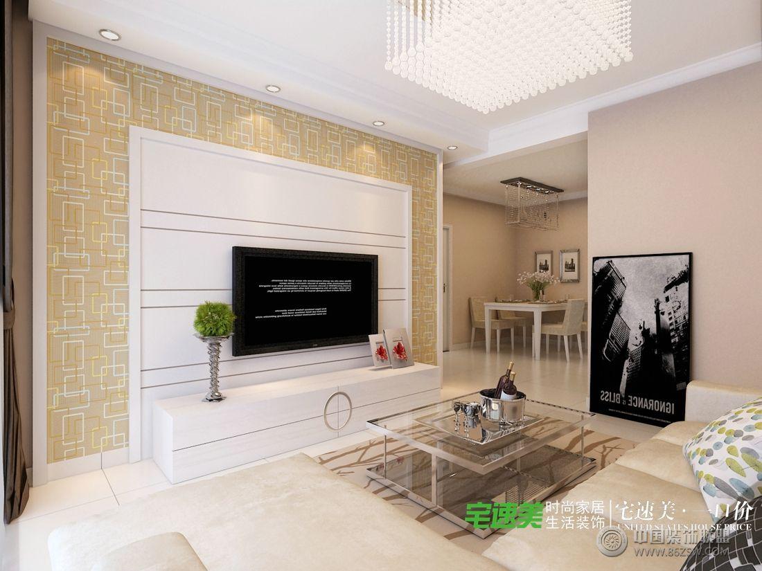 龙凤佳苑两室两厅85平现代风格装修效果图-客厅装修图片