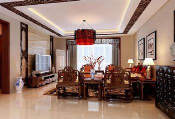 180平三居中式风格中式客厅装修图片