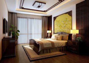 180平三居中式风格中式卧室装修图片