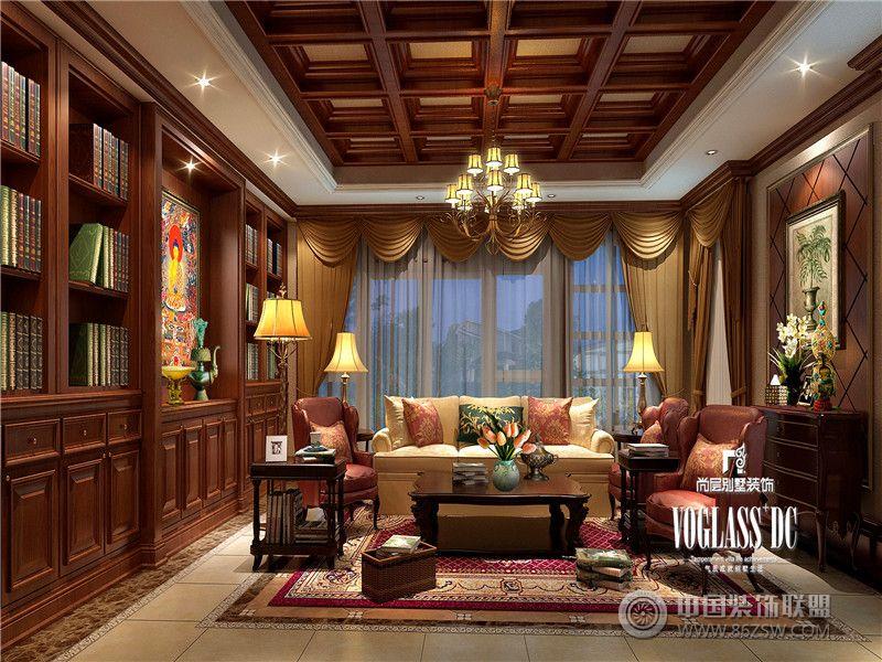 成都尚層裝飾別墅裝修復地御香山美式風格兩套打通