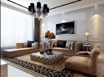 120平三居简欧风现代客厅装修图片