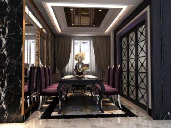 142平三居欧式古典混搭风格案例东南亚餐厅装修图片