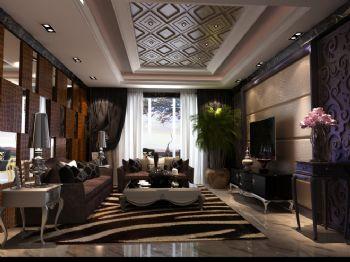142平三居欧式古典混搭风格案例东南亚客厅装修图片