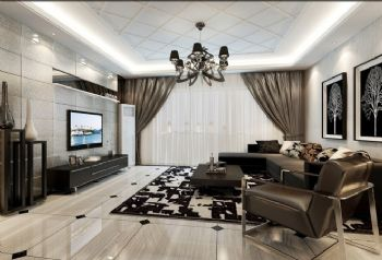 137平三居简欧风格案例欧式客厅装修图片