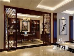 成都尚层装饰别墅装修保利蝴蝶谷中式风格案例中式书房装修图片