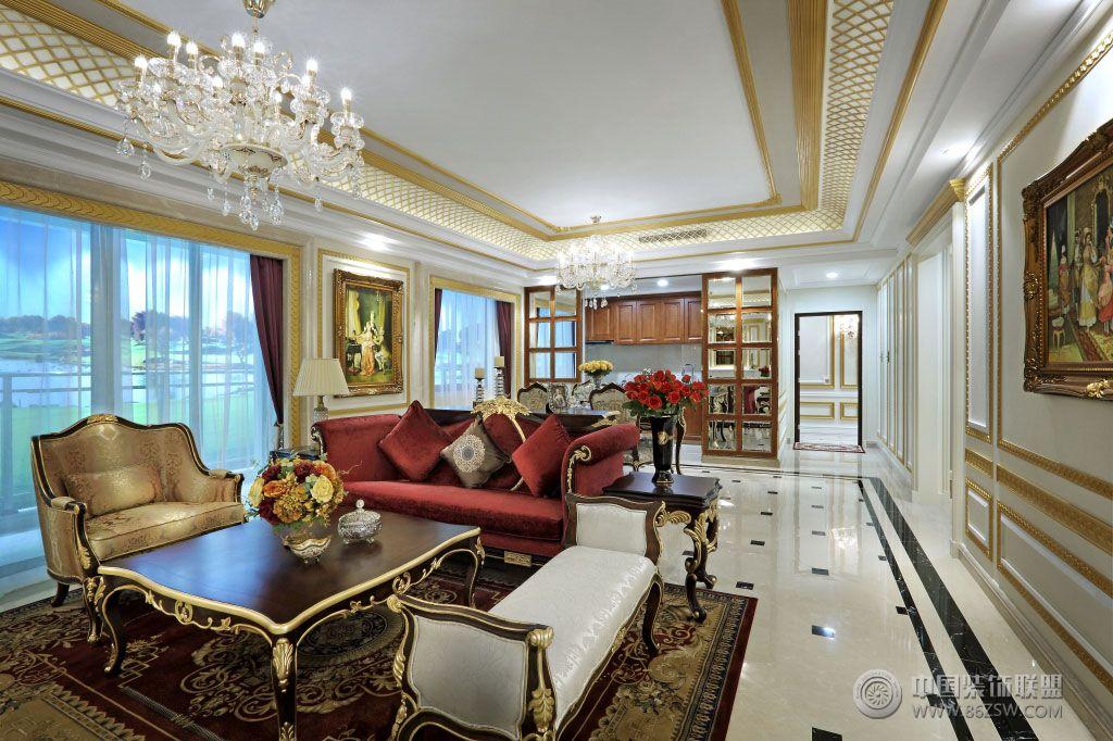 sl南宁霖峰壹号欧式宫廷风格样板房设计客厅装修图片